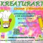 La Concejalía de la Juventud anima  a trabajar la creatividad de la forma más divertida, desde el sábado 9 de noviembre con Kreaturarte,