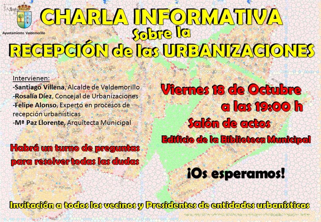 El ayuntamiento invita a todos los presidentes de urbanizaciones y vecinos a participar en la charla sobre la recepción de las urbanizaciones de Valdemorillo
