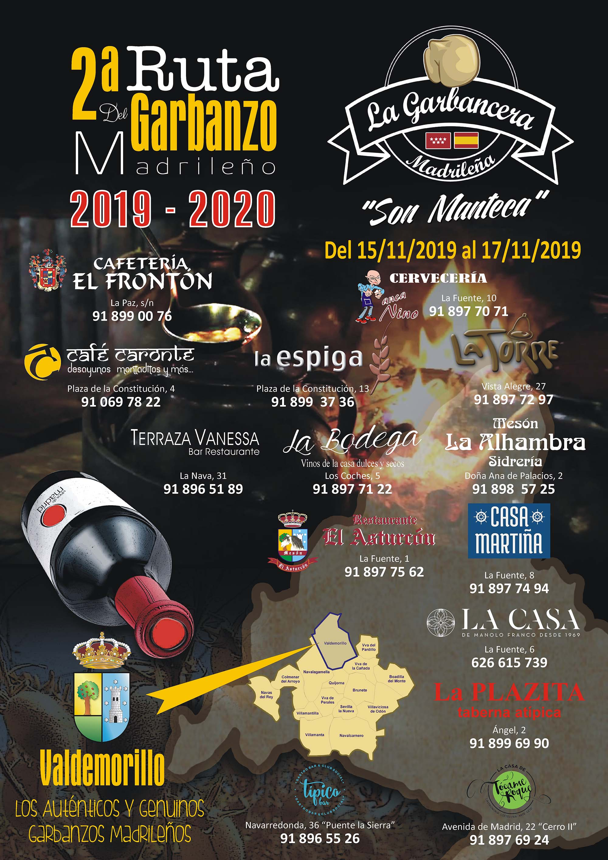 Cuenta atrás para disfrutar en Valdemorillo de la Ruta con más sabor. Del 15 al 17 de noviembre catorce restaurantes locales llevan a sus platos el garbanzo madrileño servido con vinos de Madrid para brindar el maridaje perfecto, gastronomía y turismo