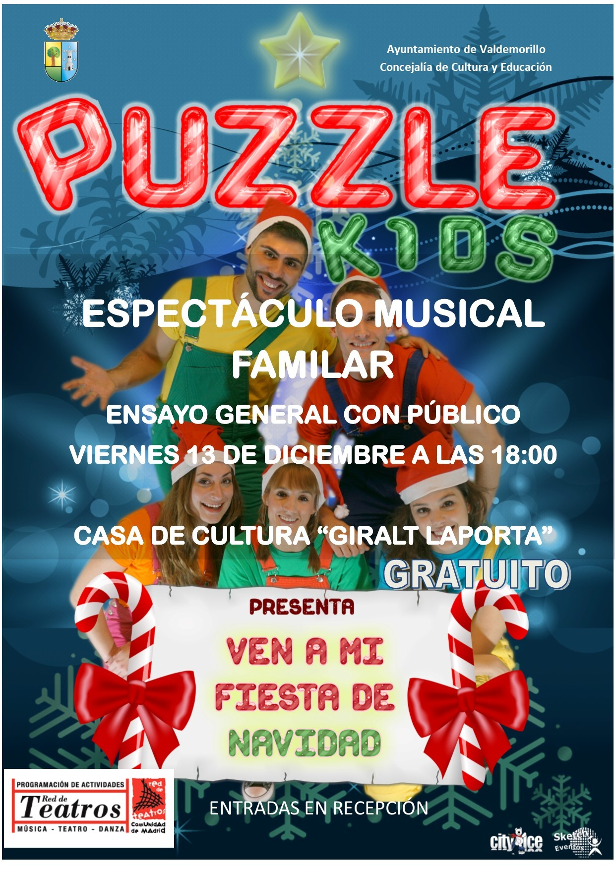 Los vecinos de Valdemorillo, invitados a disfrutar con el espectáculo musical de Puzzle Kids.  El viernes 13 de diciembre,  'Ven a mi Fiesta de Navidad', para pasarlo en grande  en el Auditorio de la Giralt Laporta