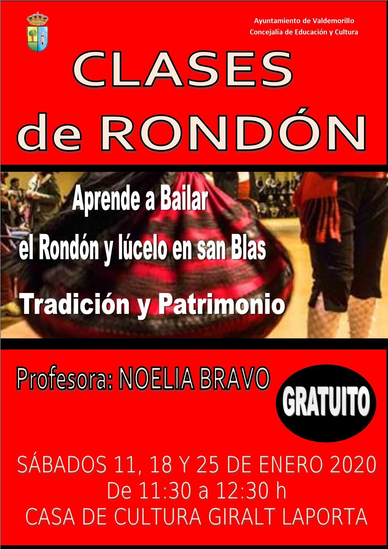 Los sábados 11,18 y 25 de enero,  clases de rondón en la Giralt Laporta  para no perder el paso, aprender la tradición y lucirla por San Blas