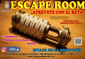 Valdemorillo sigue aumentando la oferta de ocio de sus jóvenes, ahora con Escape Room,  una divertida actividad, gratuita, que se podrá disfrutar todos los viernes desde el 10 de enero