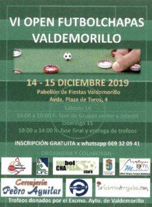 VI Open Fútbolchapas Valdemorillo,  el 14 y 15 de diciembre  en el Pabellón Municipal de Fiestas