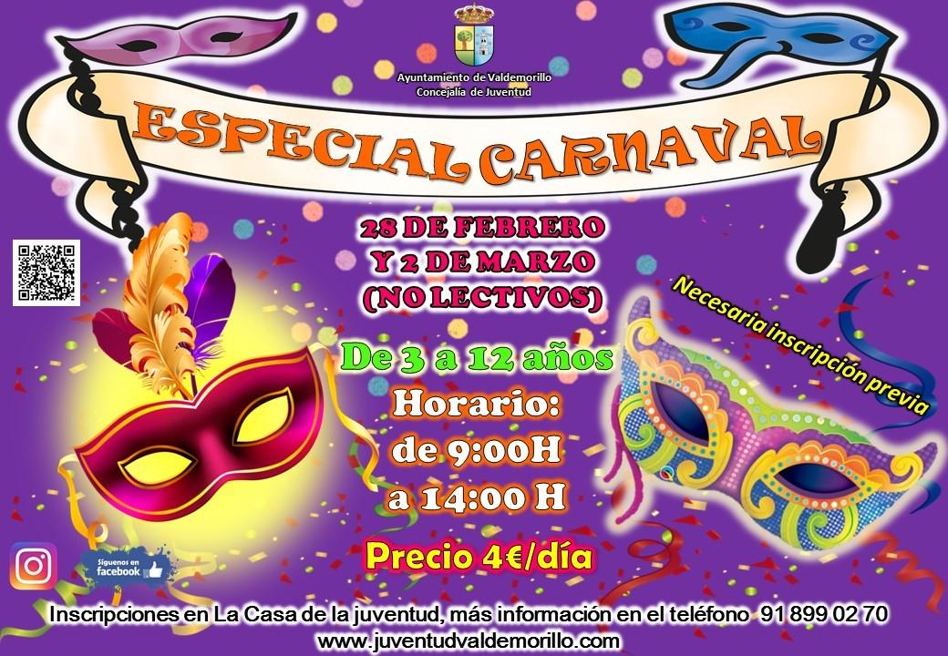 Especial Carnaval en Valdemorillo para  menores de 3 a 12 años. Dos días no lectivos,  el 28 de febrero y el 2 de marzo, en los que vivirán  la magia de esta celebración entre talleres  y otras actividades llenas de color y diversión