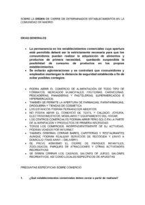 Aclaraciones sobre el cierre de establecimientos en la Comunidad de Madrid