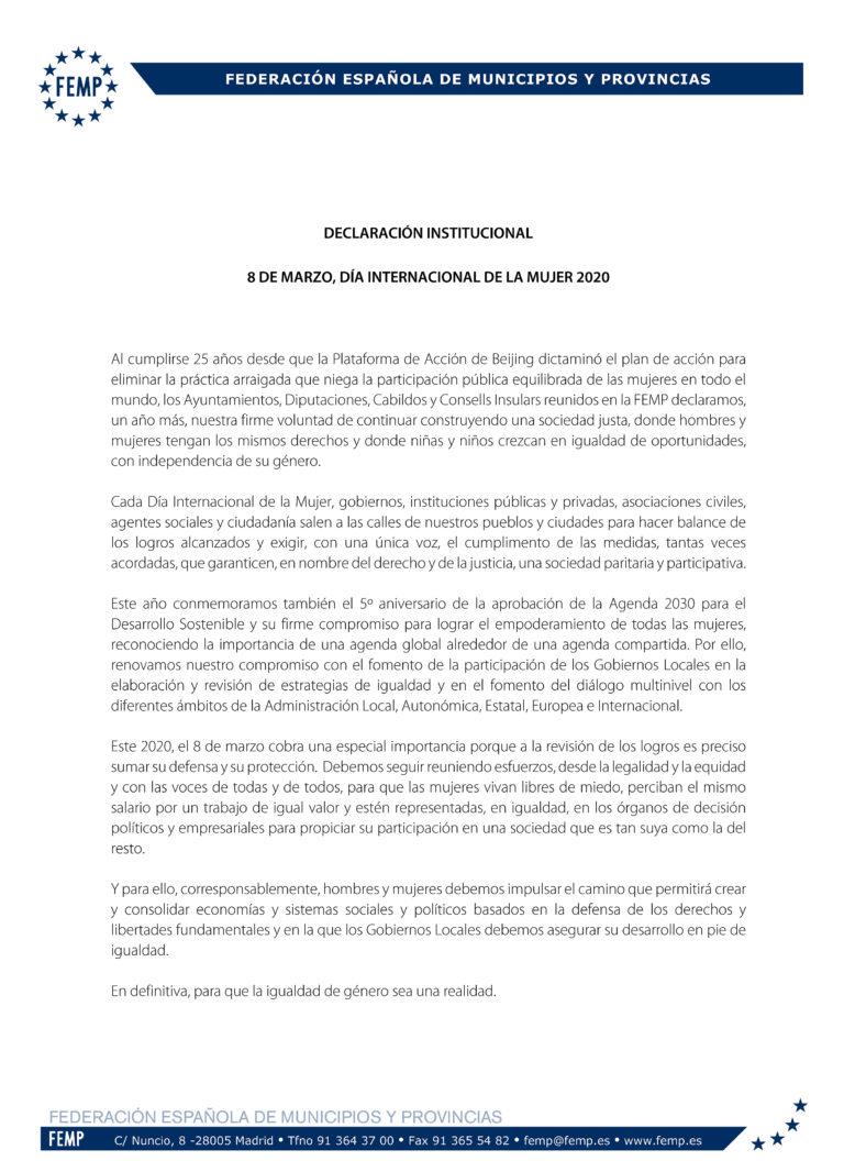 DECLARACIÓN INSTITUCIONAL DE LA FEMP