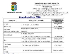Aprobado el nuevo calendario fiscal municipal 2020, adaptado a la crisis sanitaria del Coronavirus