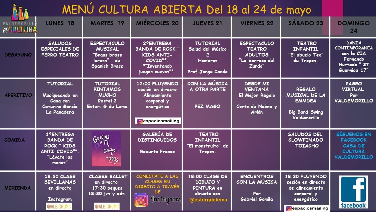 La Giralt Laporta presenta su menú semanal hasta el 24 de mayo para que  la cultura siga abierta en Valdemorillo
