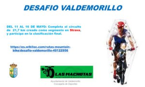 La Concejalía de Deportes pone en marcha  Desafío Valdemorillo,  para que los bikers puntúen ya sobre el terreno del 11 al 16 de mayo