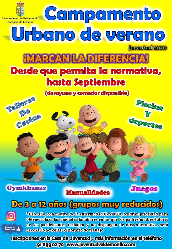 Abierto ya el plazo de inscripción para el Campamento Urbano de Verano especialmente organizado para atender las necesidades de las familias en las que ambos progenitores trabajan