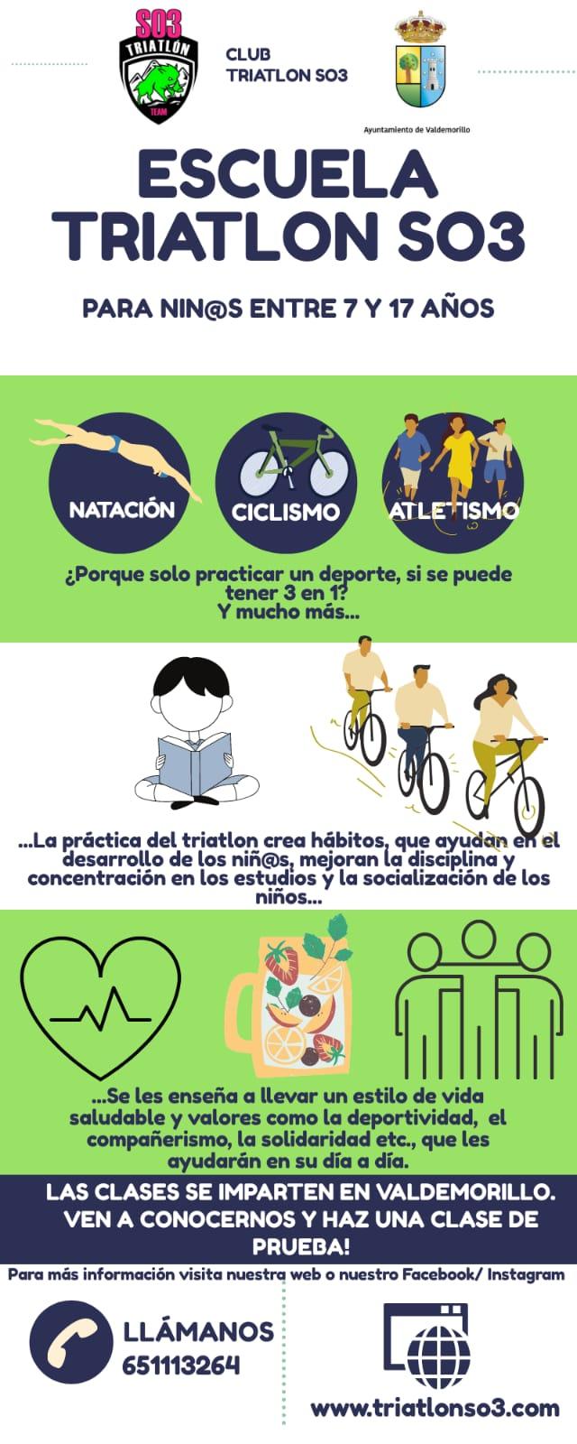 """Natación, ciclismo y atletismo,  la Escuela de Triatlón Sierra Oeste 3 ofrece lo mejor del """"tres en uno"""" en la agenda deportiva de Valdemorillo"""