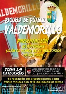 Valdemorillo presenta este 16 de septiembre  su Escuela de Fútbol, abierta a todas las categorías,  una de las grandes novedades entre la amplia oferta deportiva municipal de la nueva temporada