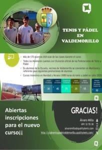 Todo a punto en las canchas y pistas de Valdemorillo  para el nuevo curso, con más de 170 alumnos disfrutando al máximo de los deportes de raqueta en las clases impartidas por profesionales con gran experiencia