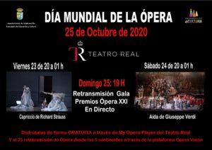 Valdemorillo anima a sus vecinos a 'adelantarse'  a la celebración del Dia Mundial de la Ópera para seguir las retransmisiones en abierto del Teatro Real