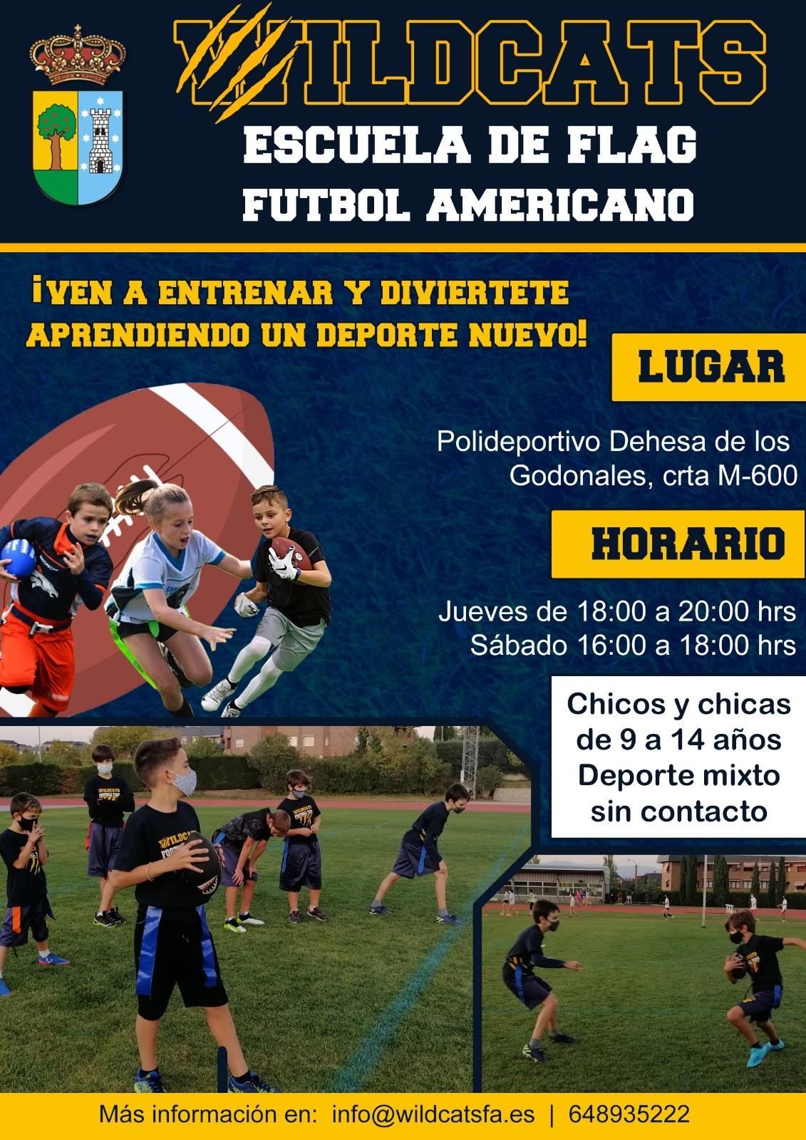 El fútbol americano también llega a la programación deportiva de Valdemorillo para que los menores de 9 a 14 años  se diviertan en esta Escuela de Flag  de forma muy segura y sin contacto entre jugadores