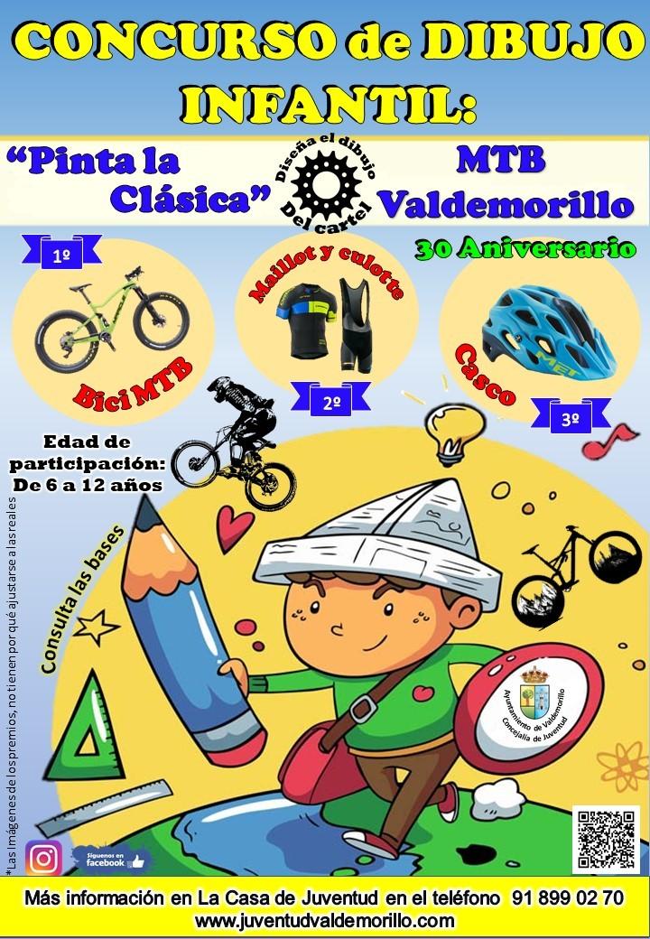 Valdemorillo celebra el 30 aniversario de la Clásica MTB convocando un concurso de dibujo infantil  para que sean los más jóvenes quienes le pongan imagen  a la histórica edición a disputar en el 2021