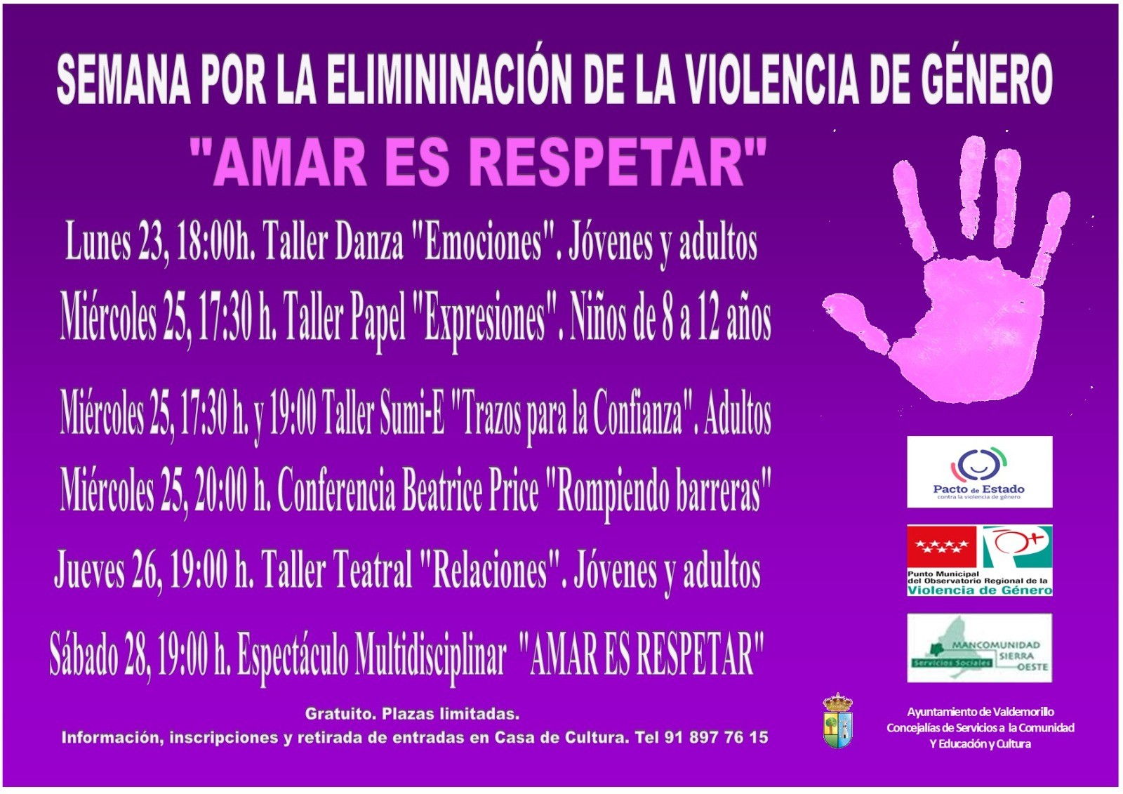 Valdemorillo presenta programación especial con  toda una semana de actividades y propuestas  para mostrar su apoyo a las víctimas y expresar su rotundo rechazo a la violencia de género