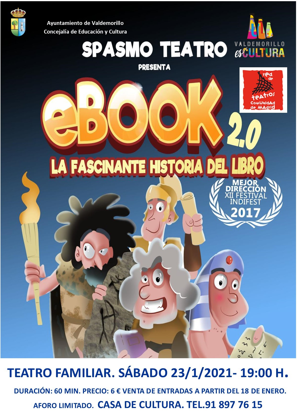 La primera gran función del año en la Giralt Laporta  pone en escena 'e-book 2.0. La fascinante historia del libro',  un espectáculo didáctico y muy divertido con el que  Spasmo brinda una formidable tarde de teatro familiar