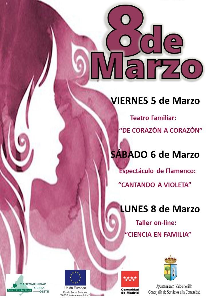 Teatro para bebés, cantando a Violeta  y taller on-line de ciencia en familia, trío de propuestas para todos en Valdemorillo para celebrar  este 8 de marzo y homenajear a todas las mujeres