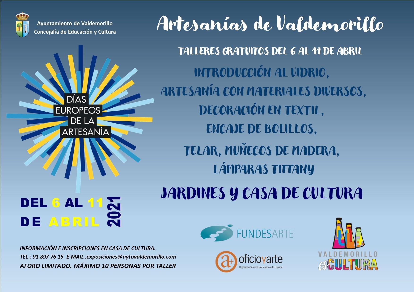 Del 6 al 11 de abril Valdemorillo invita a descubrir  el buen hacer de sus artesanos  con los talleres gratuitos y demostraciones que llenarán de creatividad la Giralt Laporta y sus jardines