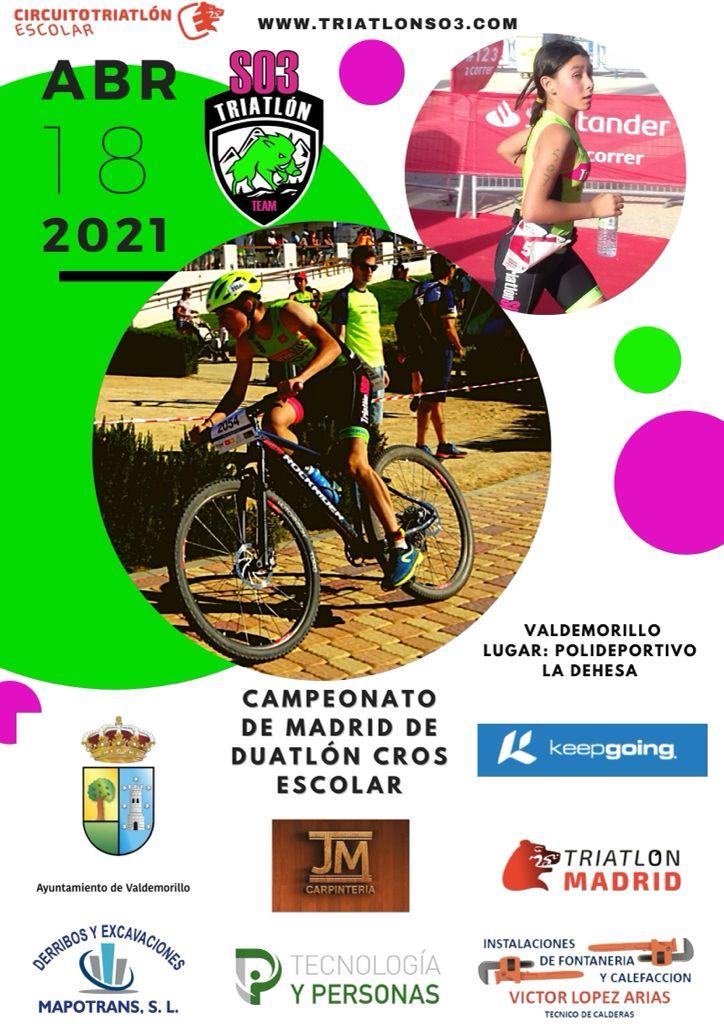 Valdemorillo acoge nueva gran cita deportiva este domingo con cerca de 500 participantes disfrutando de un marco natural excepcional para disputarse el triunfo en el Campeonato de Madrid de Duatlón Cros Escolar